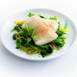 Steamed brill with vegetables